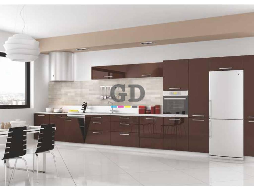 Kahverengi Akrilik Kapaklı Mutfak Dolabı